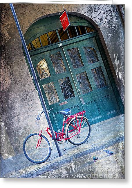 Greeting Card featuring the digital art Red Bike by Erika Weber