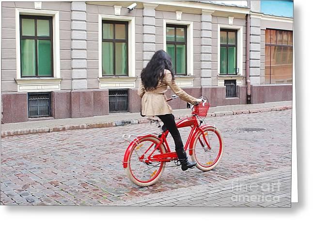 Red Bike Greeting Card by Gene Mark