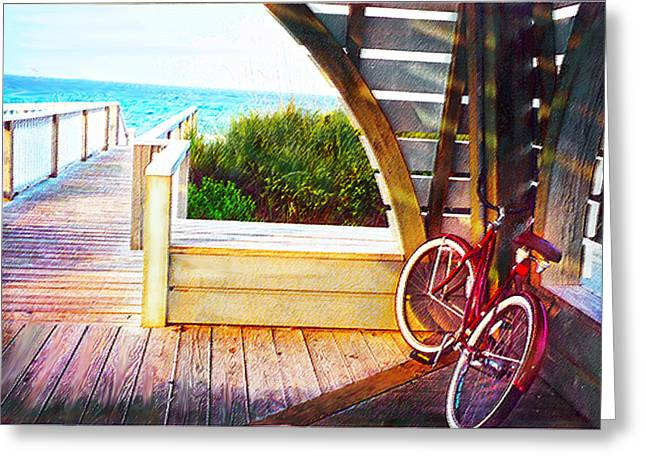 Red Bike On Beach Boardwalk Greeting Card