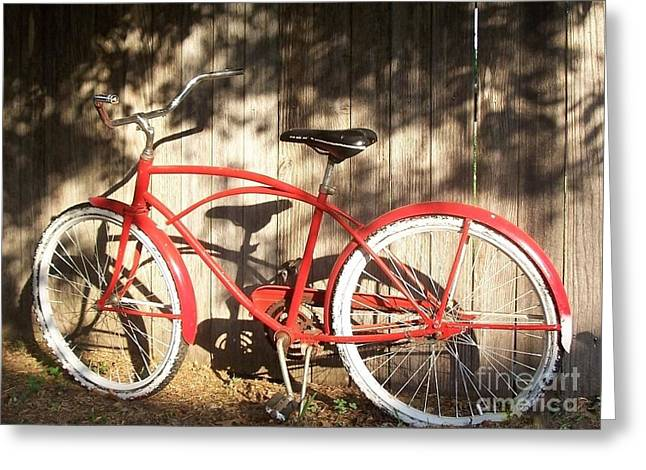 Red Bike Greeting Card