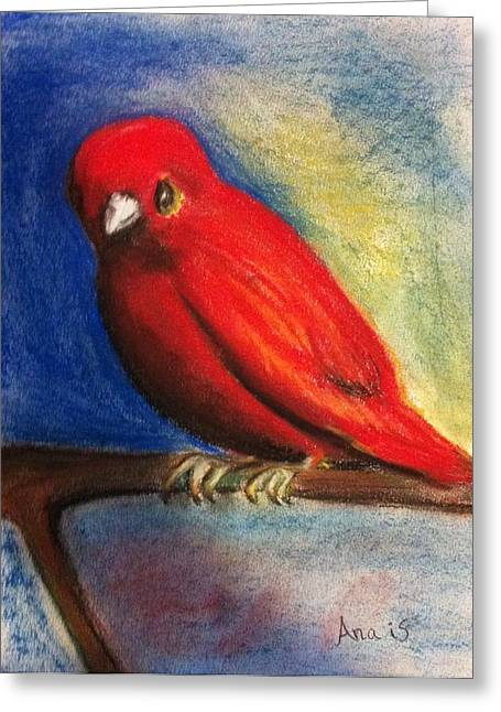Red Bird Greeting Card by Anais DelaVega