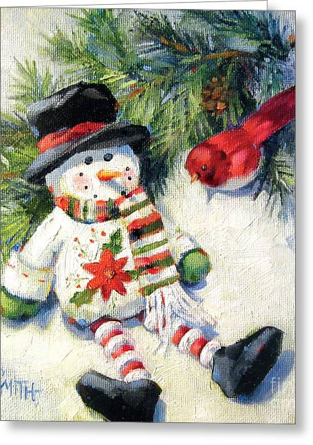 Red Bird And The Snowman Greeting Card