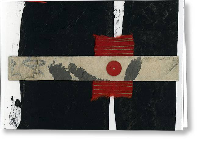 Red Black And White Collage 1 Greeting Card by Carol Leigh