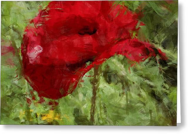 Red Bloomers Greeting Card by Julie Lueders