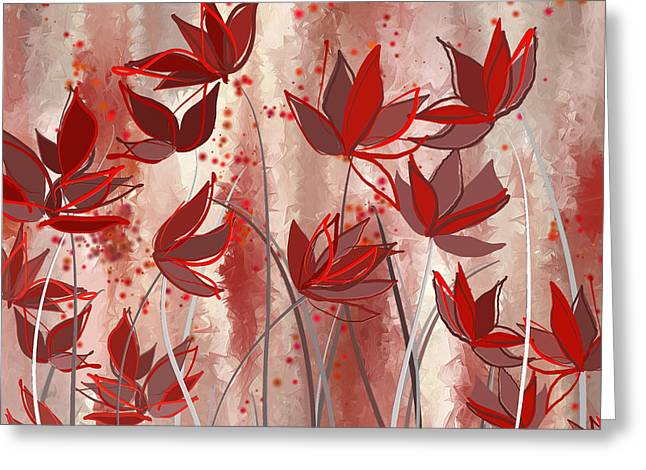 Red Blossoms- Marsala Art Greeting Card by Lourry Legarde
