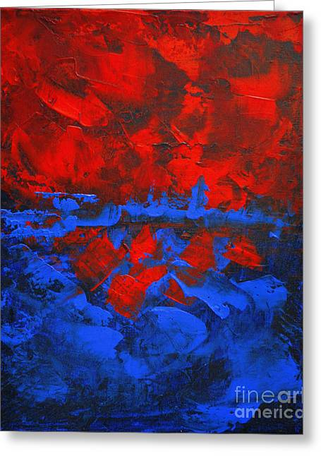 Red Blue Abstract Make It Happen By Chakramoon Greeting Card by Belinda Capol