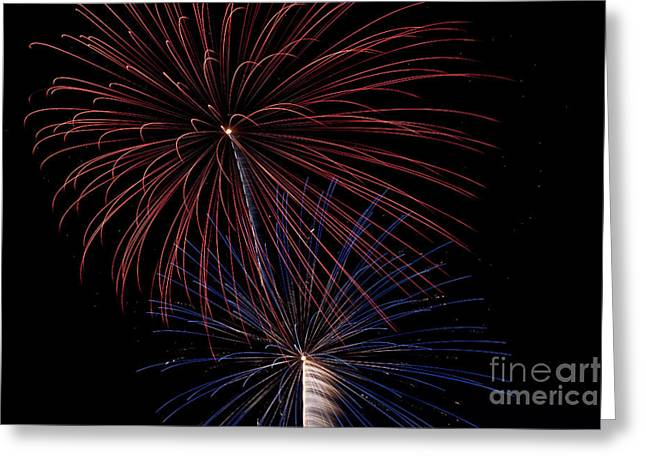 Red Blue Fireworks Greeting Card by Jason Meyer