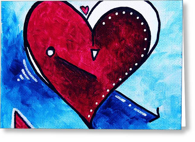 Red Blue Heart Love Painting Pop Art Joy By Megan Duncanson Greeting Card
