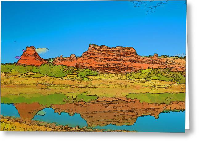 Red Bluff Reflection Greeting Card