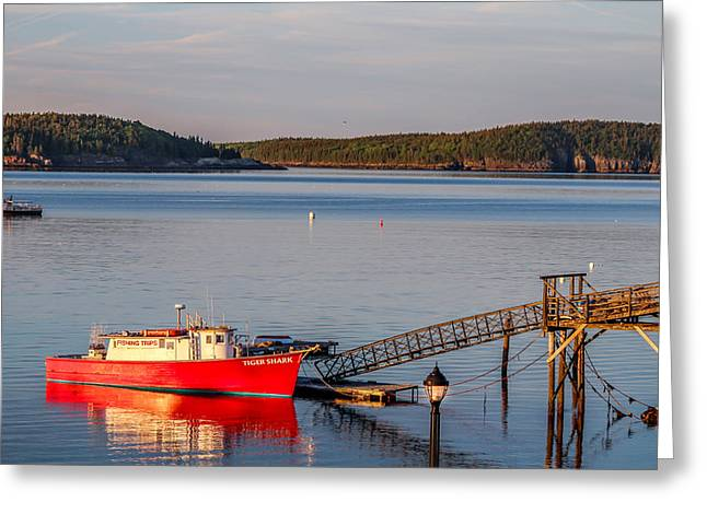 Greeting Card featuring the photograph Red Boat Bar Harbor Me by Trace Kittrell