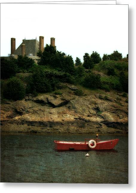 Red Boat In Newport Greeting Card by Michelle Calkins