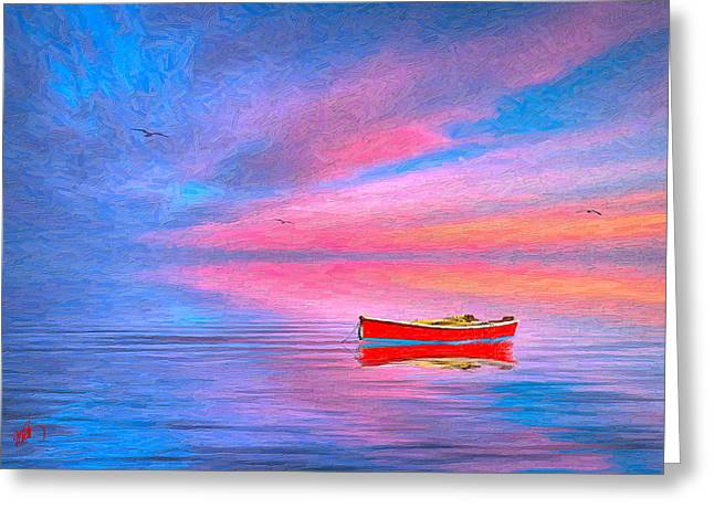 Red Boat Greeting Card by Michael Petrizzo