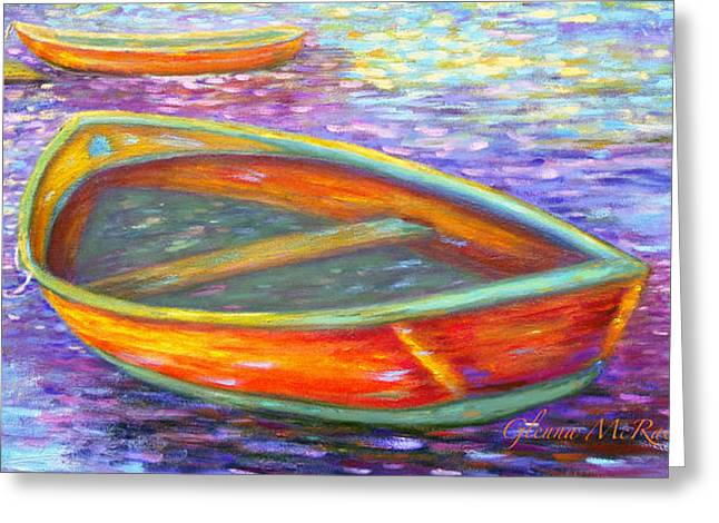Red Boats On Autumn's Shore Greeting Card
