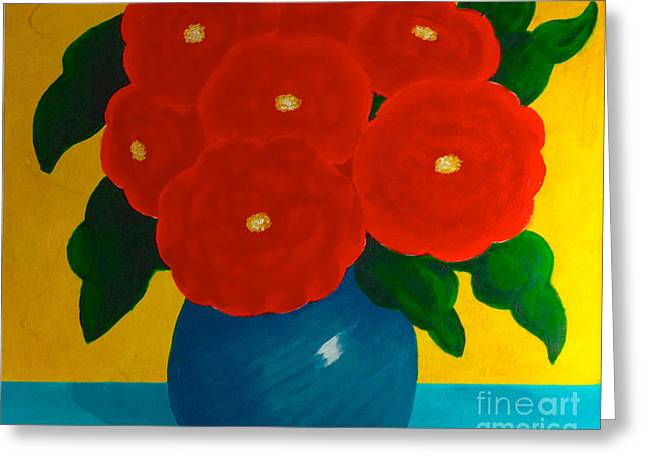 Greeting Card featuring the painting Red Bouquet by Anita Lewis