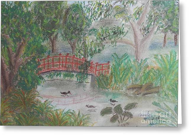 Red Bridge At Wollongong Botanical Gardens Greeting Card
