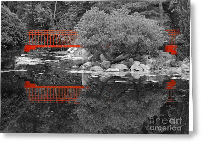 Red Bridge Black And White Greeting Card