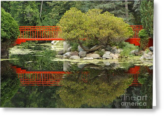 Red Bridge Close Reflection Greeting Card