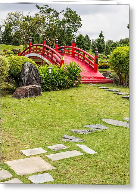 Red Bridge In A Japanese Garden Greeting Card
