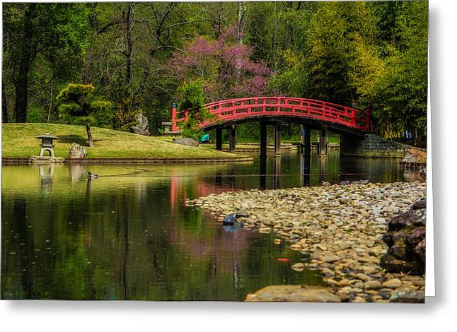 Red Bridge Greeting Card by Jon Woodhams