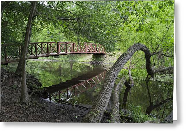 Red Bridge Over Peaceful Water Greeting Card