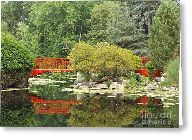 Red Bridge Reflection In A Pond Greeting Card