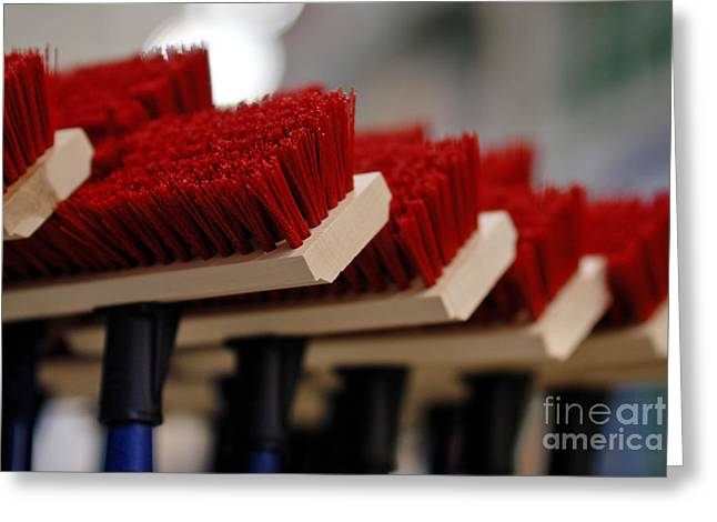 Red Bristled Push Brooms Greeting Card by Amy Cicconi