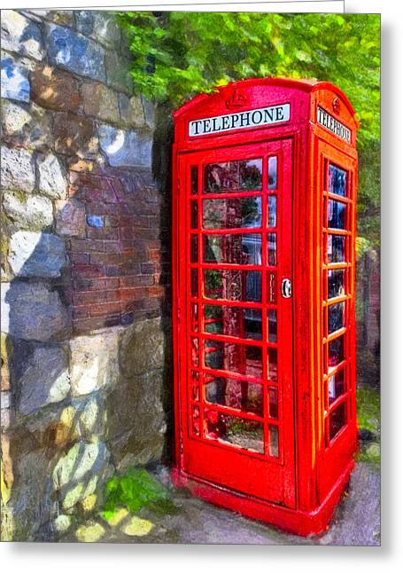 Red British Phone Box In A Little English Village Greeting Card by Mark E Tisdale