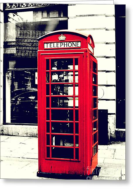 Red British Telephone Booth Greeting Card by Joan McCool