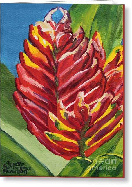 Red Bromeliad Greeting Card