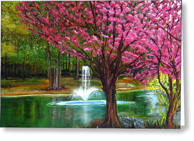 Greeting Card featuring the painting Red Bud Tree by LaVonne Hand