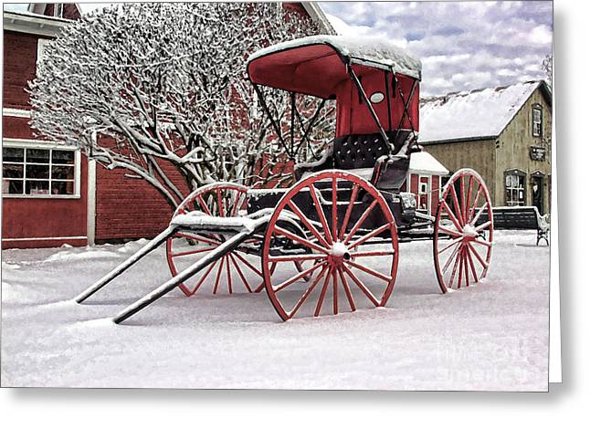 Greeting Card featuring the photograph Red Buggy At Olmsted Falls - 1 by Mark Madere