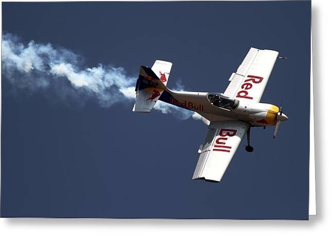 Red Bull - Aerobatic Flight Greeting Card by Ramabhadran Thirupattur