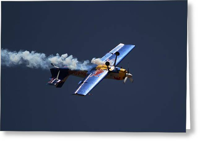 Red Bull - Inverted Flight Greeting Card by Ramabhadran Thirupattur