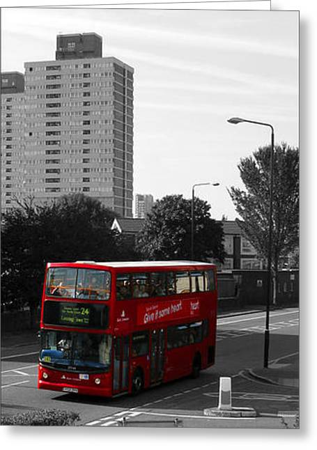 Greeting Card featuring the photograph Red Bus by Helene U Taylor