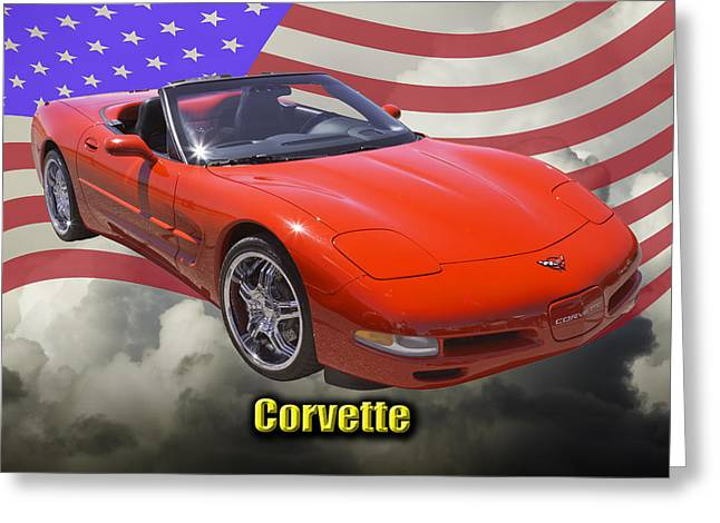 Red C5 Corvette Convertible Muscle Car Greeting Card by Keith Webber Jr