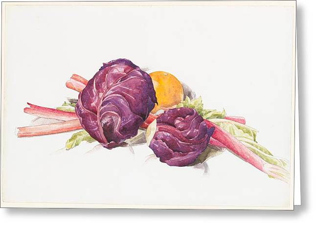 Red Cabbages, Rhubarb And Orange Greeting Card by Charles Demuth