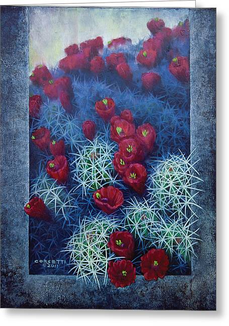 Greeting Card featuring the painting Red Cactus by Rob Corsetti