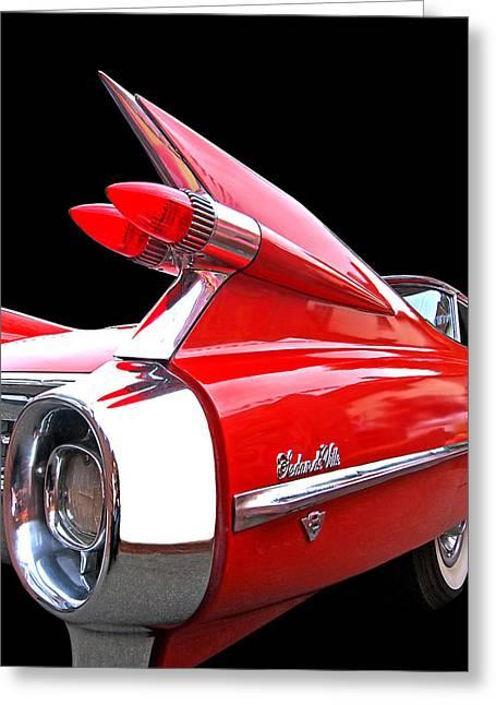 Red Cadillac Sedan De Ville 1959 Tail Fins Greeting Card
