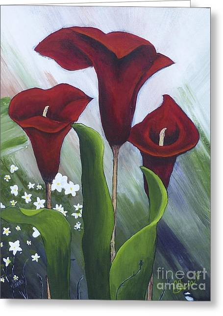 Red Calla Lilies Greeting Card