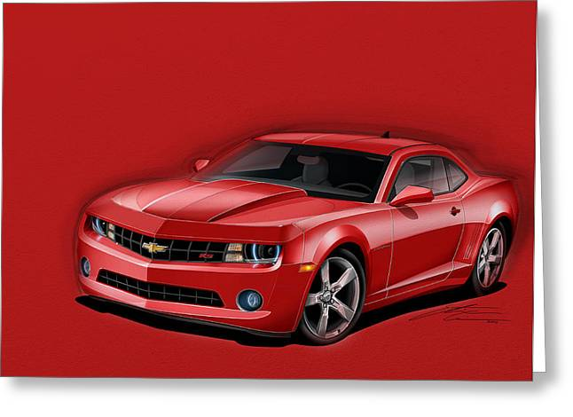Red Camaro Greeting Card by Etienne Carignan