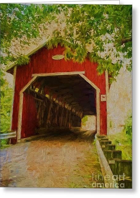 Red Canadian Bridge Greeting Card by Deborah Benoit