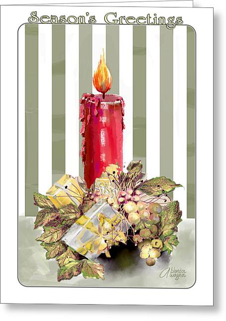 Greeting Card featuring the digital art Red Candle by Arline Wagner