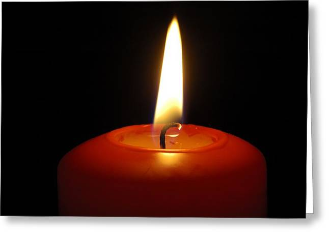 Red Candle Burning Greeting Card