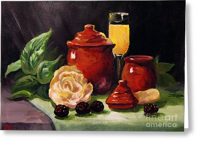 Greeting Card featuring the painting Red Candle Jars by Carol Hart