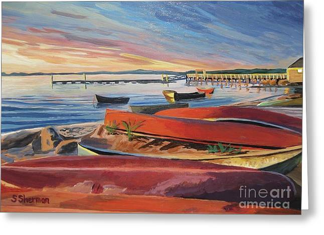 Red Canoe Sunset Greeting Card