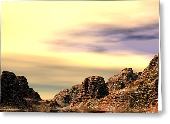 Greeting Card featuring the digital art Red Canyon Cove by John Pangia