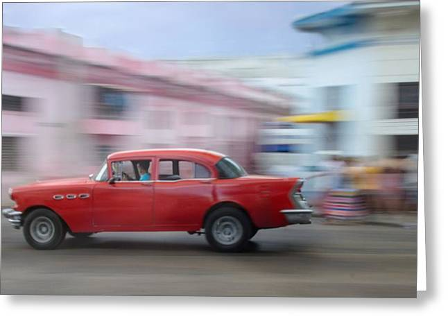 Red Car Havana Cuba Greeting Card
