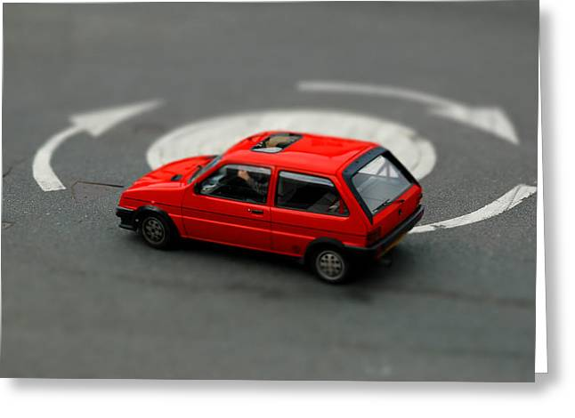 Red Car In Roundabout. Greeting Card