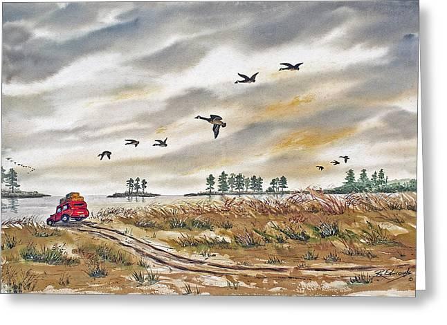 Red Car On Beach Greeting Card by Raymond Edmonds