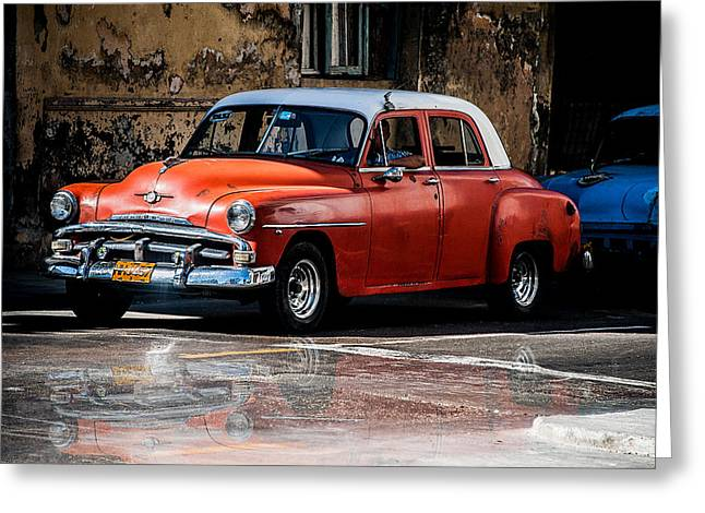 Red Car On Wet Street Greeting Card